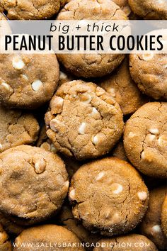 Big, soft, and thick peanut butter cookies with MASSIVE peanut butter flavor! Filled with white chocolate chips, these are irresistible! Recipe on sallysbakingaddic...
