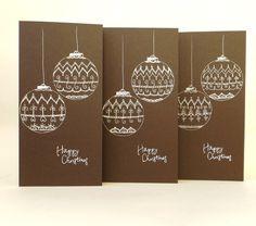Set of 3 Christmas Cards, Christmas Baubles, Season's Greetings Card, Hand Drawn Christmas Card, Christmas Greetings, Brown Christmas Cards by ElinaQuills on Etsy