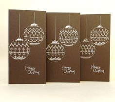 Set of 3 Christmas Cards, Christmas Baubles, Season's Greetings Card, Hand Drawn Christmas Card, Christmas Greetings, Brown Christmas Cards by ElinaQuills on Etsy
