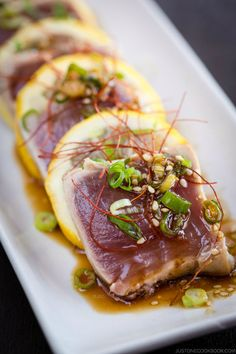 Tuna Tataki キハダ鮪のたたき | Easy Japanese Recipes at JustOneCookbook.com