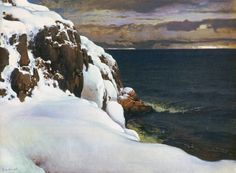 Talvinen Merimaisema by Eero Järnefelt (Finnish, Winter Landscape, Landscape Art, Landscape Paintings, Landscapes, Scandinavian Paintings, Scandinavian Art, Chur, Water Art, Sea Art