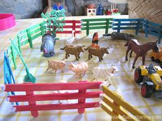 Make some fencing for your small world farm play activity! Part of the #simpleplay series.