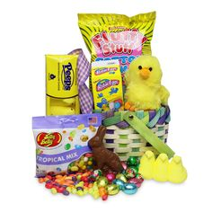 Easter Day should be packed full of sweet treats and chocolate. In this fun and colorful basket, we kept that tradition alive with some of our favorite nostalgic candies!Get ready to reminisce with Robin Eggs, a solid chocolate bunny, Jelly Belly jelly beans, Peeps marshmallow candies, Fluffy Stuff cotton candy, and a bounty of foil-wrapped milk chocolate eggs. To send this basket over the top, we added a fuzzy chick friend that will keep the joy of Easter alive after the holiday passes.