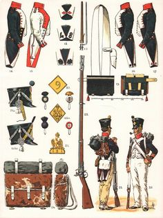 Line Infantry Fusilier uniform & equipment distinctions, Shako 1810 (10), 21st tunic 1807(15), campaign dress (25) Corporal (26), 1804-1813 (Plate 03b)