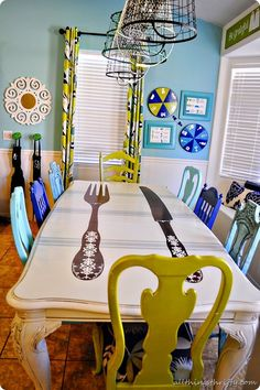 DIY Dining Table and Chairs Makeover • Ideas & Tutorials! (I like everything except the fork & knife painted on the table.)