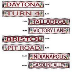 "RACEWAY STREET SIGNS   Find your way to raceway! The Indianapolis 500 or the Daytona 500 are both included in our 4 pack of raceway street signs is a perfect addition to your Nascar or Motocross theme party.  Each street sign is printed on both sides and is 4"" high x 24"" long.  Raceway street signs are sold 4 assorted to the pack."