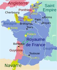 Carte du royaume de France lors de la première phase de la guerre de Cent Ans (1337-1364)