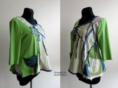 Green Patchwork Top Recycled Tshirt Recycled Jeans от MARTINELI