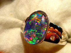 Mens Opal Ring Sterling Silver Natural Opal by AussieGemOpals