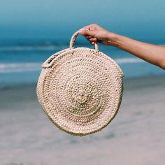 Small Round Straw Bag Handmade Round straw basket Straw