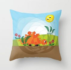 Here we have our happy stegosaurus on throwing pillow, you can check him here https://society6.com/product/happy-stegosaurus_pillow and even more of our cool stuff! :-) #HAPIdesign #dino #stegosaurus #cute #instalike #instagood #follow #kids #smile #draving #digital #mandala