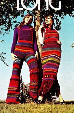 """Vintage Crochet  Hippie 70s """"STRIPED"""" Overalls & 2-piece Dress PDF Pattern - Summer"""