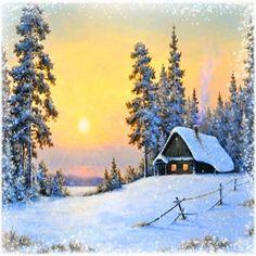 image anime - Page 21 Watercolor Landscape, Landscape Art, Landscape Paintings, Watercolor Paintings, Christmas Scenes, Christmas Art, Winter Szenen, Winter Painting, Snow Scenes