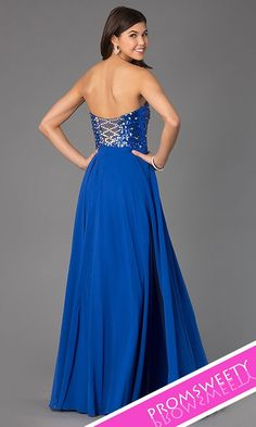 Xcite 30527 Long Strapless Royal Prom Dress Back