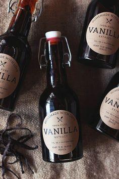 Homemade vanilla extract with printable