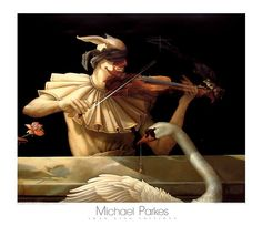 Michael Parkes print WATER MUSIC violin player with white swan 1982 surreal art Realism Painting, Surreal Art, Fantasy Art, Parkes, Music Art Print, Realism Art, Magic Realism, Music Art, Posters Art Prints