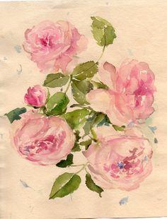 garden roses Original watercolor painting Floral art by RougeBaie