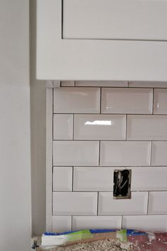 Kitchen Backsplash Beveled Subway Tile white liner backsplash beveled subway tile edge - colonial white