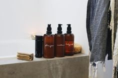 How To: DIY Beautiful Shampoo and Bathroom Bottles - House Nerd Amber Bottles, Amber Glass, Glass Bottles, Reuse Bottles, Recycled Bottles, Shampoo Bottles, Diy Shampoo, Quirky Bathroom, Bathroom Interior