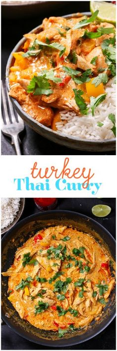 Turkey Thai Curry - A brilliant way to use up your Christmas leftovers! Get dinner on the table in less than 20 minutes.