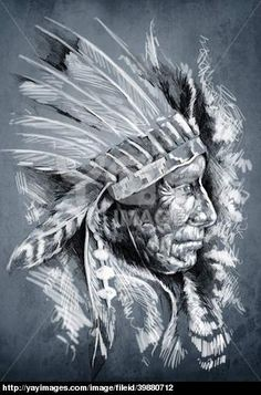 Free Native American Wolf Wallpaper | Sketch of tattoo art, native american indian head, chief, dirty ...