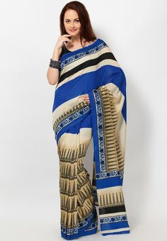 Printed Cotton Blend Blue Saree