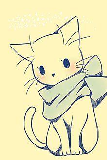 Фото Нарисованная кошечка с шарфом грустно смотрит