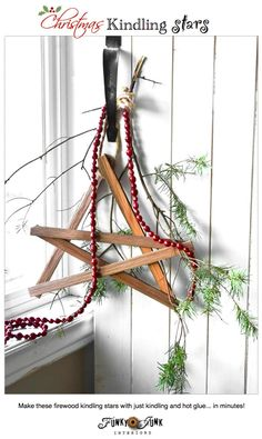 Make these Christmas firewood kindling stars with just kindling and hot glue... in minutes! via http://www.funkyjunkinteriors.net/