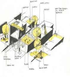 Fickle Housing by Group 3 Architecture Concept Drawings, Architecture Sketchbook, Architecture Drawings, Architecture Design, Pavilion Architecture, Architecture Diagrams, Architecture Portfolio, Classical Architecture, Sketch Design