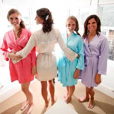Personalized wedding robes for the bridal party to get ready in....less than $30