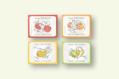 POMGE cidre & bonbon packaging by Satoru Nakaich Tea Packaging, Food Packaging Design, Brand Packaging, Branding Design, Graphic Design Posters, Graphic Design Illustration, Art And Hobby, Cartoon Design, Label Design