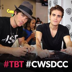 to 2014 with the Salvatore brothers! See  at this year's Comic-Con® Sunday! Vampire Diaries Ending, The Vampires Diaries, Vampire Diaries The Originals, The Cw, Damon And Stefan Salvatore, The Salvatore Brothers, Paul Wesley, Man Crush, Movie Stars
