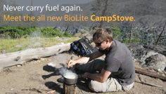 BioLite camp stove & USB power source.  The energy from the heat of the stove charges or powers any devices plugged in.  This seems like it'd not just be awesome for camping but also for any emergency kit you have hanging around the house.