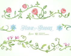 Floral Borders & Elements. 12 Digital Clipart. Hand painted