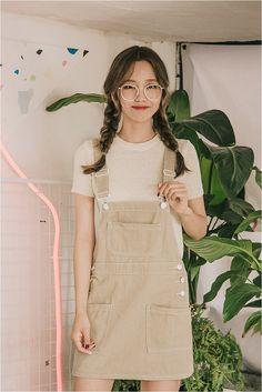 Cute overall skirt #kfashion #kooding                                                                                                                                                                                 More