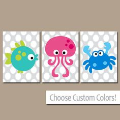 Sea Animals BATHROOM Wall Art CANVAS or Prints Nautical