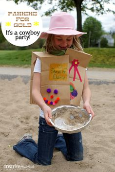 Simple and Fun party idea.  Panning for Gold - It's a Western Cowboy Party