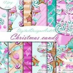 Christmas candy in pink by robertichka on Christmas Paper Crafts, Christmas Sweets, Christmas Candy, Christmas Ideas, Graphic Design Pattern, Graphic Patterns, Digital Scrapbook Paper, Digital Papers, Easy Diy Crafts