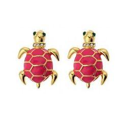 Pink turtle stud earrings. presh!