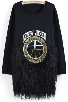 Black Long Sleeve Contrast Shaggy Letters Print Dress US$54.10