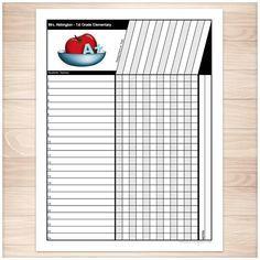 Teachers Grade Sheet - Grade School Elementary Apple - Printable