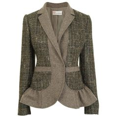 RED VALENTINO Tweed Flannel Single Breasted Jacket ($325) ❤ liked on Polyvore featuring outerwear, jackets, blazers, coats, tops, tweed blazer, brown tweed jacket, single breasted jacket, flannel blazer and long sleeve jacket
