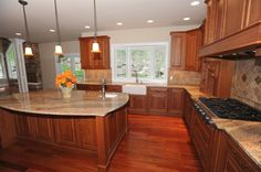 Floor And Cherry Kitchen Cabinets