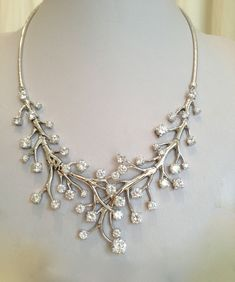 Sterling Silver and CZ Vintage Estate Jewelry Statement Necklace. $289.00, via Etsy.