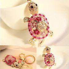 Crystal Tortoise Rhinestone Keyring Charm Pendant Purse Bag Key Ring Chain Gift