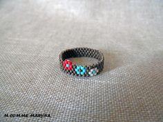 Bague Fleurs tissée perles Miyuki Bronze, turquoise, rouge et beige peyote Bohostyle Bohochic Bohemian. Taille de la bague : Bague par m-comme-maryna