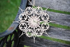Steampunk Gear & Clock Snowflake Ornament. Laser Cut. Christmas, Holiday Decoration, Gift. Mom, Dad by TreeTownPaper on Etsy