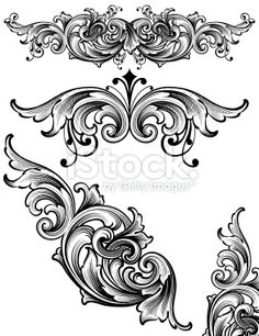 Flowing Arabesque Scrollwork Royalty Free Stock Vector Art Illustration