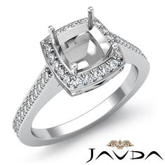 Diamond Engagement Ring Halo Pave Setting 18K White Gold Cushion Semi Mount 0 5c | eBay