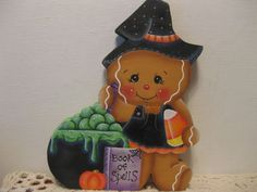 HP Gingerbread Witch and candy corn Shelf Sitter hand painted USA (ebay countreecorner US only)